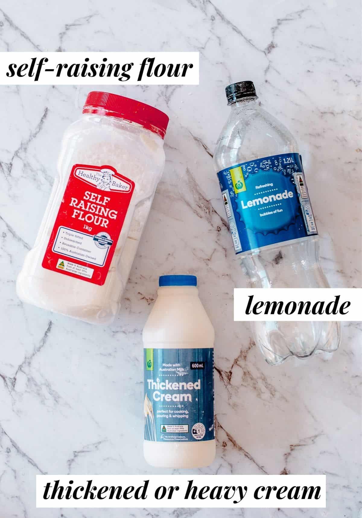 Ingredients to make Lemonade Scones.