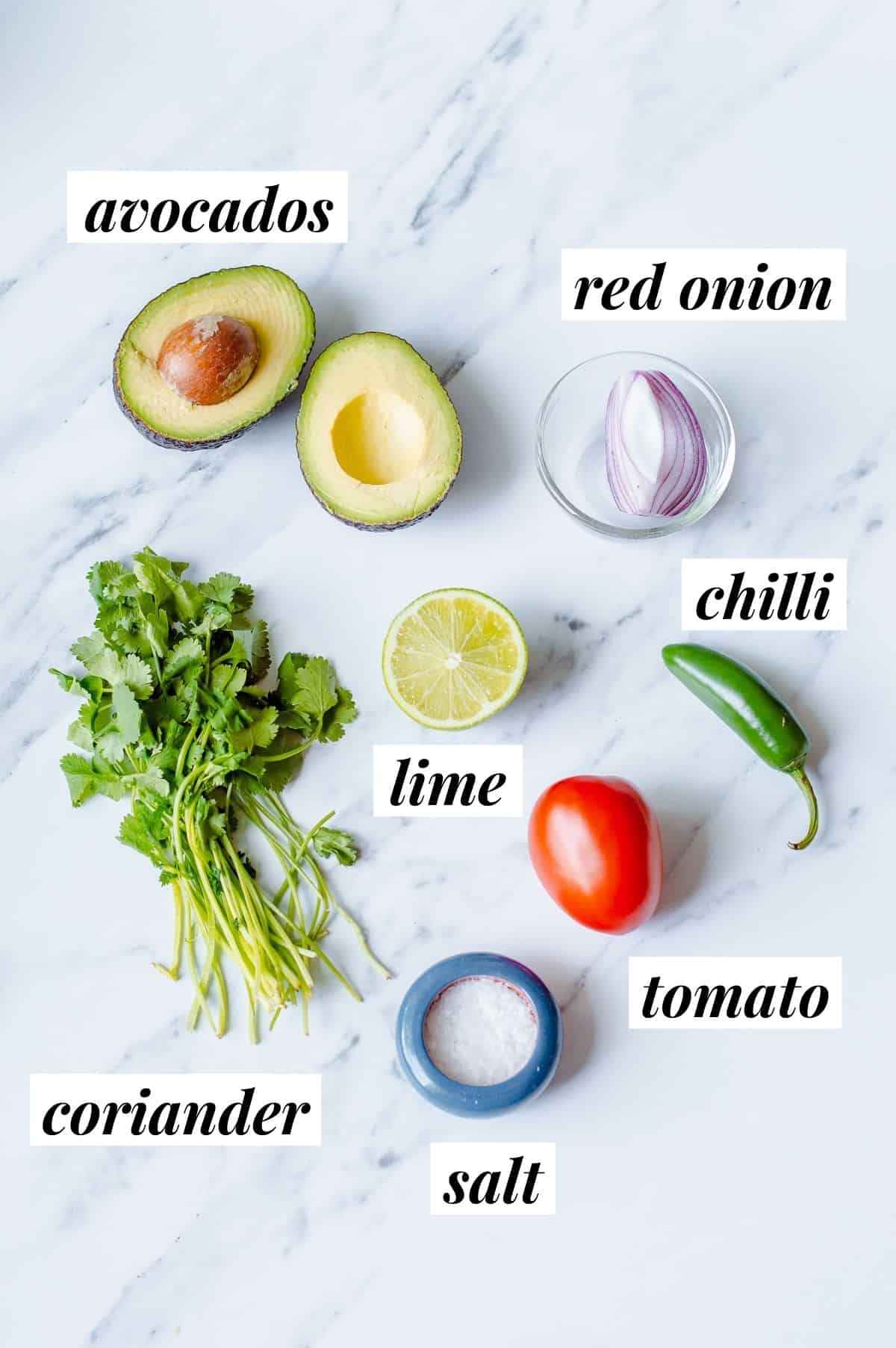 Ingredients to make Guacamole.
