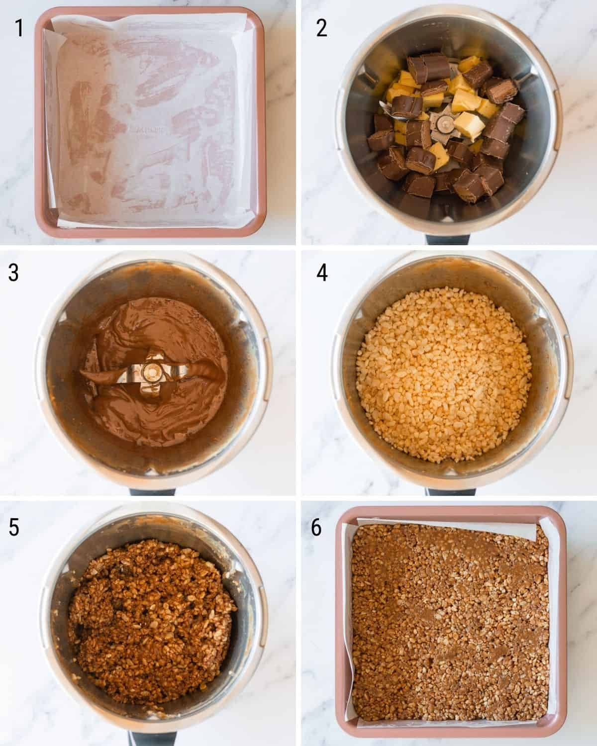 A collection of images explaining how to make Mars Bar Slice in the Thermomix