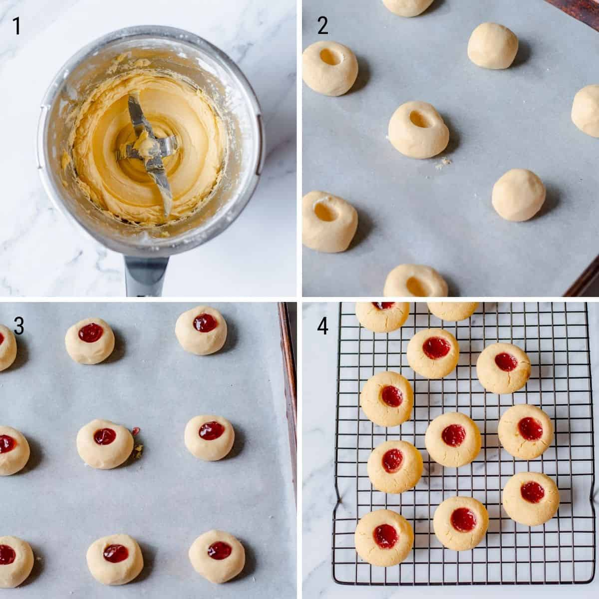 A collection of 4 images explaining how to make Jam Drops in the Thermomix.